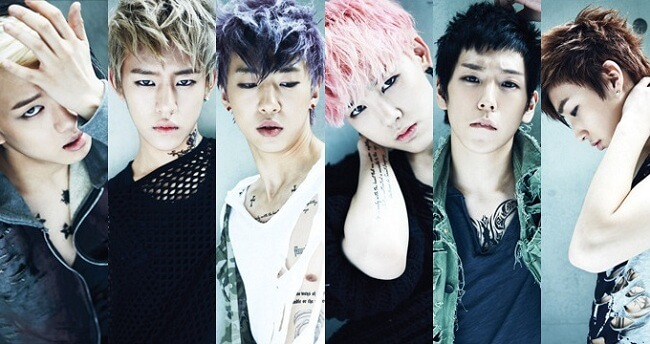 De izquierda a derecha: Jungjae, Daehyun, Yongguk, Zelo, Himchan, Jongup