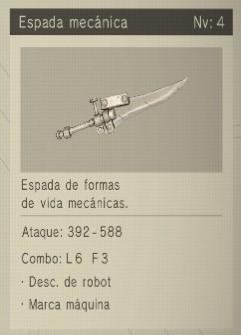 espada mecánica Nier Automata Armas