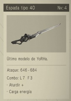 espada tipo 40 Nier Automata Armas