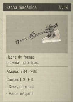 hacha mecánica Nier Automata Armas