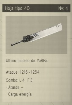 hoja tipo 40 Nier Automata Armas