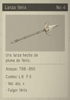 lanza fenix Nier Automata Armas
