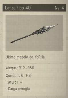 lanza tipo 40 Nier Automata Armas