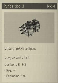 puños tipo 3 Nier Automata Armas