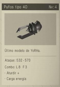 puños tipo 40 Nier Automata Armas