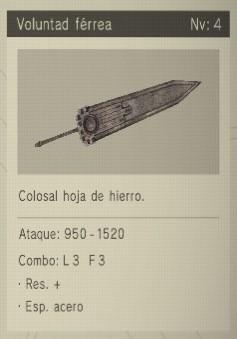 voluntad férrea Nier Automata Armas